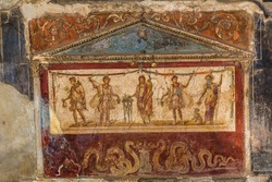 Painted wall  in Pompeii city  destroyed  in 79BC by the eruption of Mount Vesuvius