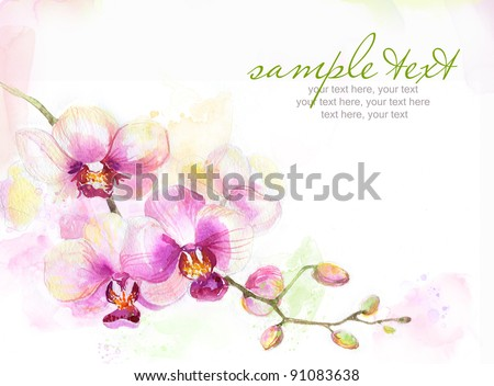 Painted watercolor card with orchid and text