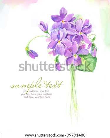 Painted watercolor card with spring violet flowers and text