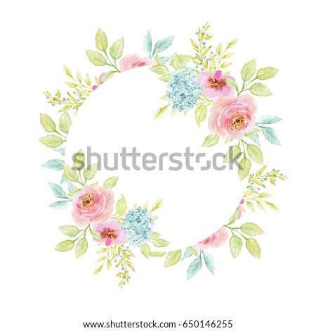 Painted watercolor composition of flowers in pastel colors. Frame, border, background. Greeting card. Valentine's Day, Mother's Day, wedding, birthday