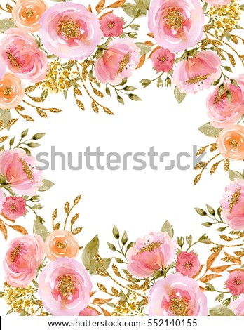 Painted watercolor composition of flowers with gold sparkle frame painted watercolor composition of flowers with gold sparkle frame border background greeting card valentines day mothers day wedding birthday ez mightylinksfo