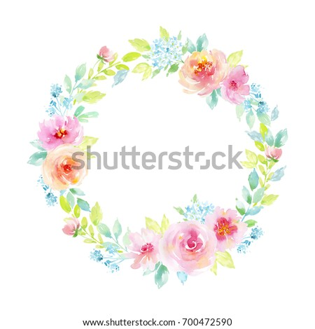 Painted watercolor composition of flowers with roses on white background. Frame, wreath, border. Greeting card. Valentine's Day, Mother's Day, wedding, birthday
