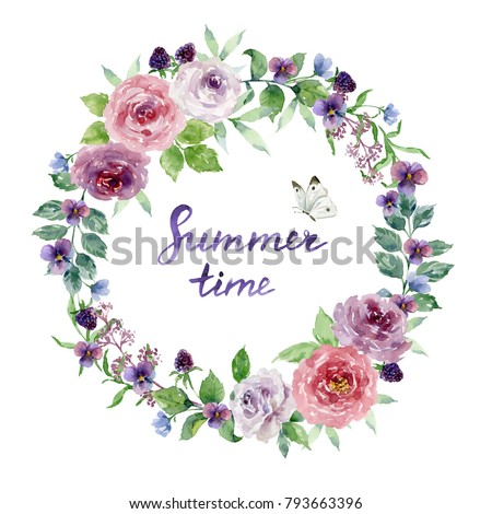 Painted watercolor composition of flowers with roses, violets, blackberries and butterfly on white background. Wreath, frame, border. Summer time lettering #793663396