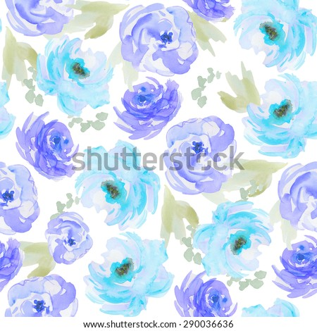 Painted Watercolor Flowers Pattern Background. Blue Watercolor Flower Background Pattern. Floral Pattern