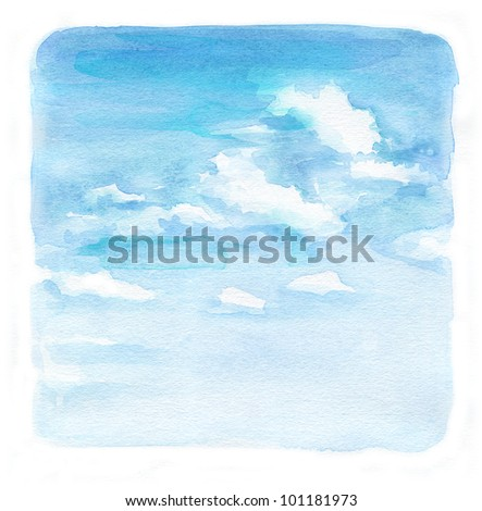 Painted watercolor sky