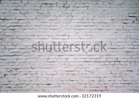 painted white brick wall - stock photo