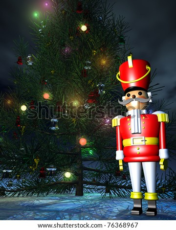 Painted wooden Toy Soldier Nutcracker standing at attention before a lighted Christmas tree. Outdoor night sky background. Original illustration