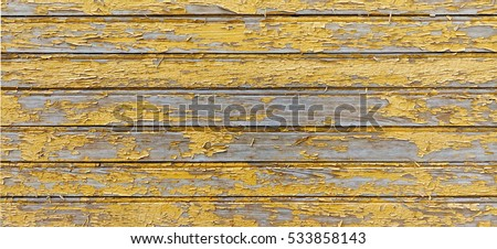 Painted Yellow Wood Shabby Horizontal Background. Wooden Barn Wall Rustic Texture.