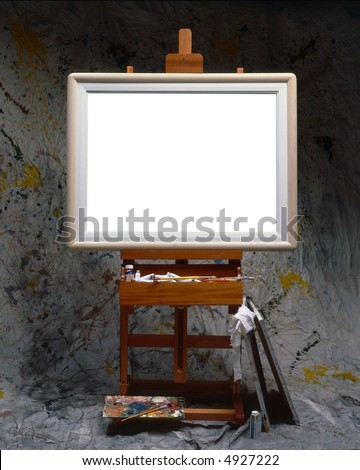 Painter easel with frame and blank canvas
