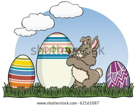 Painter Easter Bunny - Raster Version - stock photo
