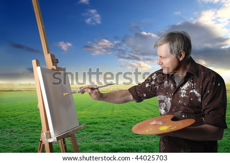 painter in countryside