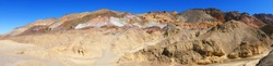 Painter Palette Panorama (Death Valley National Park) California - A panoramic view of the terrain next to Painters palette in Death Valley National Park.