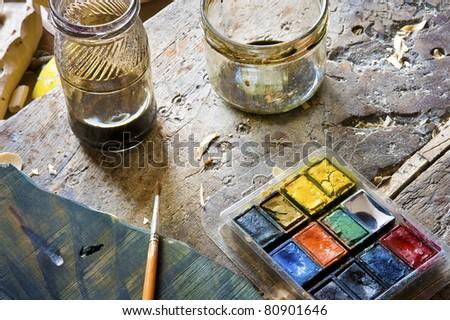 Painter\'s Jars, Color Palette and Paintbrush