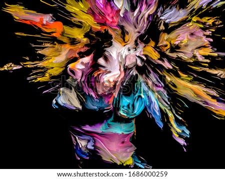 Painter's Mind. Face Paint series. Composition of colorful portrait of young woman with hair burst in association with creativity, imagination,  painting and visual art