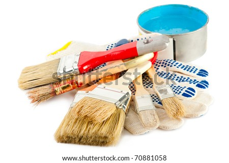 Painter working tools. Set of paint bucket with blue paint, gloves and paintbrushes for decoration