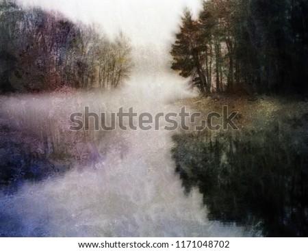 Painterly Water Landscape. 3D rendering