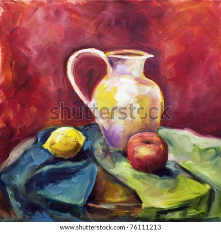Painting a pattern drawn by oil color on a canvas a beige jug on a green fabric with a red apple and a lemon on a dark red background