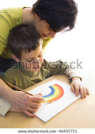 painting a rainbow - stock photo