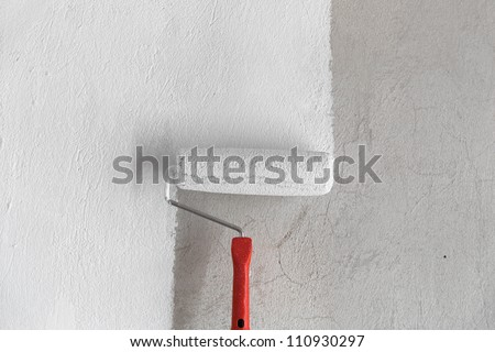 Painting a rough wall.