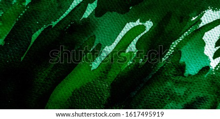 Painting Abstract Art. Emerald Acrylic Style Pattern. Lime Watercolor Paint Textured. Emerald Art. Dark Ink Grunge Texture. Acrylic Dyed Silk.