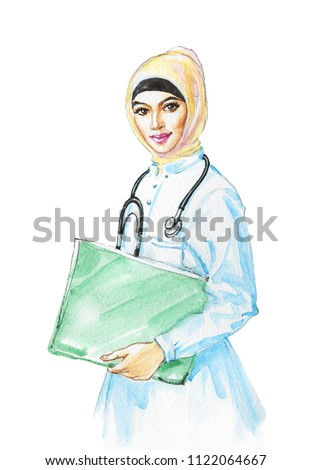 Painting arabian lady doctor. Watercolor portrait of beautiful business muslim woman. Hand drawn modern feminist illustration