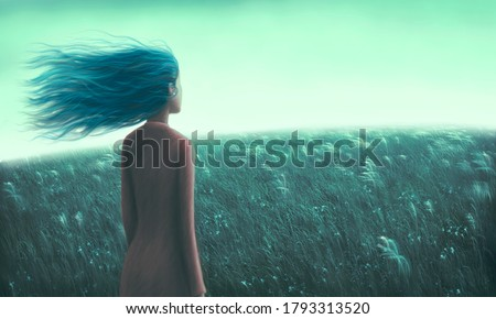 Painting artwork ,Alone loneliness hope dream and freedom concept, lonely young woman in grass field, dramatic illustration, solitude nature landscape, art
