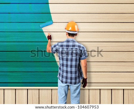 painting avd paint brush house on wood