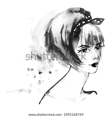 Stock Photo Painting beauty asian woman. Watercolor fashion illustration in anime style. Hand drawn portrait of pretty lady on white background with splashes