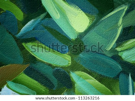 Leaves Painting Canvas Painting by Oil on a Canvas