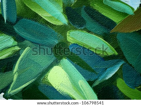 painting by oil on a canvas, leaves,  illustration, background