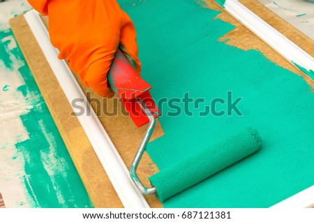 painting carried out by the roller, the master carries out repair #687121381