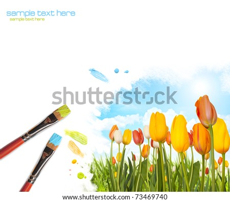 Painting colored tulips landscape with sunflower - stock photo