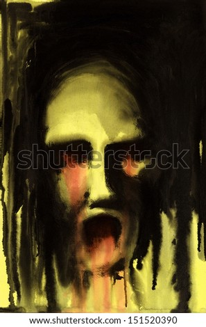painting done by me showing a horrible bleeeding face in yellow ambiance