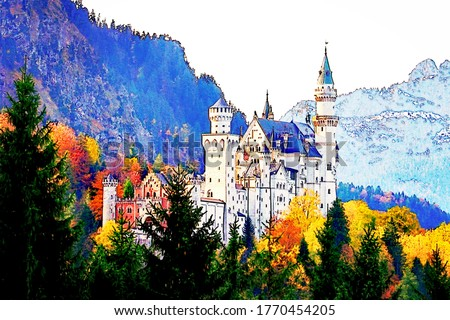 Painting effect of Neuschwanstein castle with surrounding autumn foliage and mountain background