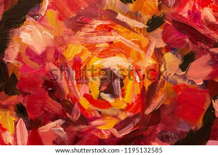 Painting flower canvas background - Oil painting close-up flower. Big red violet flowers rose peony closeup macro on canvas. Modern Impressionism. Impasto artwork.