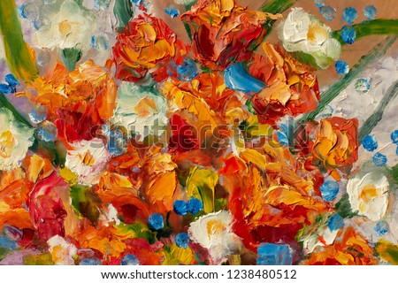 painting flower modern colorful wild flowers canvas abstract close up paint impasto oil - Impressionism modern oil paintings fragment