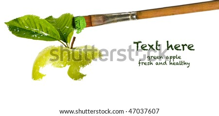 painting green apple - stock photo