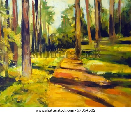 Paintings of Forest Paths Forest Path Paintings Green