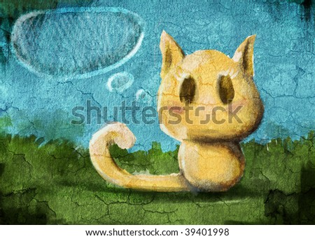 painting kitty on the grunge wall - stock photo