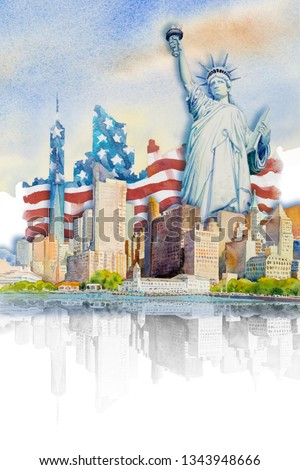 Painting landmark travel in USA. Statue Liberty, Famous landmarks of the world. Watercolor paintings skyscraper architecture and business city in flag background. Painted illustration tourism location