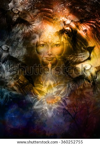 Stock Photo painting mighty lion head, and mystic woman face with bird phoenix tattoo on face, ornament background. computer collage, profile portrait
