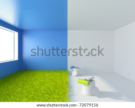 Painting of a room. Interior 3d