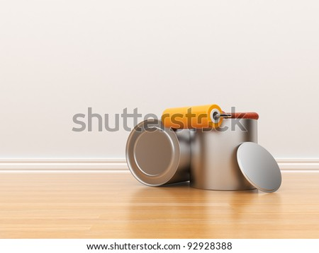 Painting of an empty white wall. Renovation house. 3D illustration - stock photo