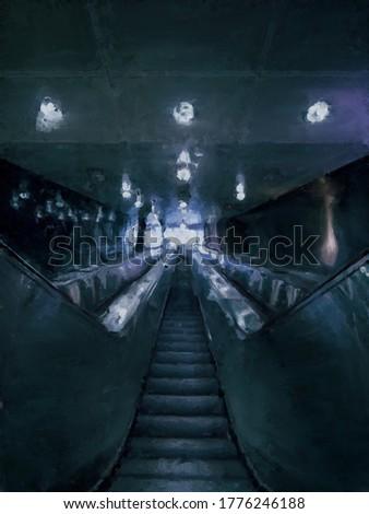 Painting of an underground escalator