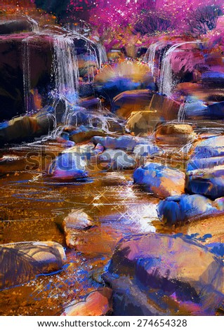 painting of beautiful river amongst colorful stones,waterfall,illustration