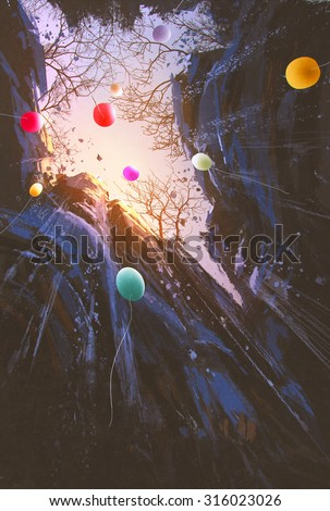 painting of colored balloons floating into the sky surrounded by the cliffs