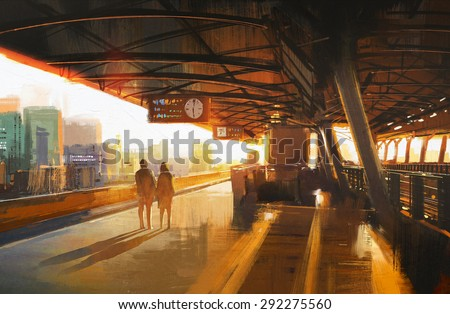 painting of couple waiting a train on the station,illustration