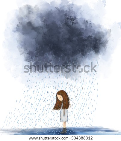 painting of heart broken girl standing under gray raining cloud. Idea of storm, lonely, alone, sad, miserable, cloudy, moody, rainy day. Graphic drawing wallpaper design background template