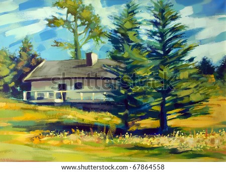 Painting of house and trees