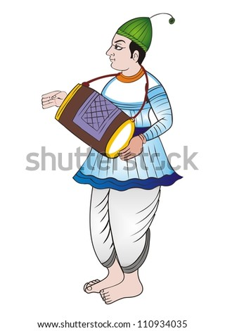 Painting of Indian Musician playing drum (INDIA)